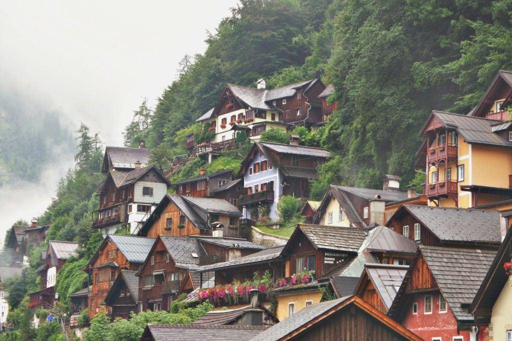 Hallstatt alpesi házak