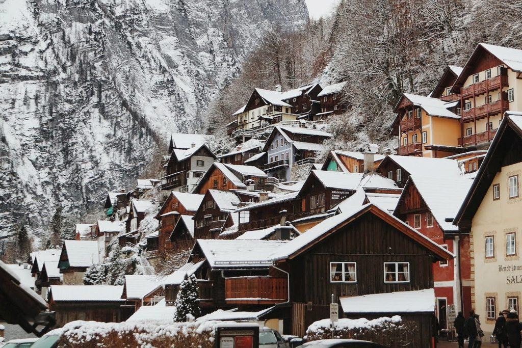 Hallstatt télen Ausztria